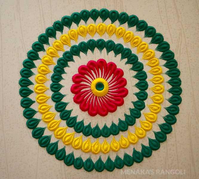 three circle colourful and very easy rangoli design