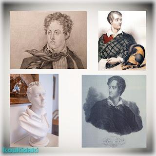 Πάνω αριστερά σχέδιο Ελένης Χατζηπουλίδου (2021), πάνω δεξιά χαρακτηρικό προσωπογραφίας Λόρδου Βύρωνα (Πολεμικό Μουσείο Αθηνών), κάτω αριστερά προτομή Λόρδου Βύρωνα και κάτω δεξιά χαρακτικό Γ. Παπαγεωργίου (1828)