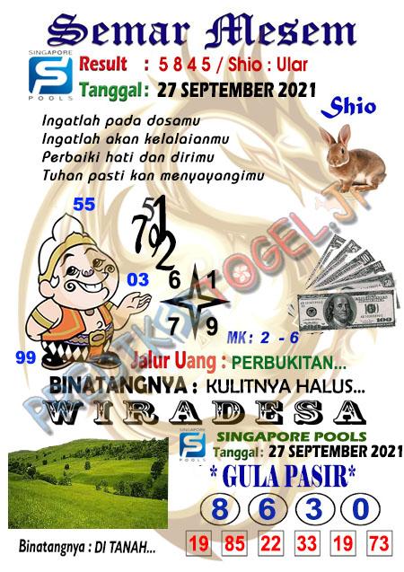 Syair Semar Mesem Sgp45 Senin 27-September-2021