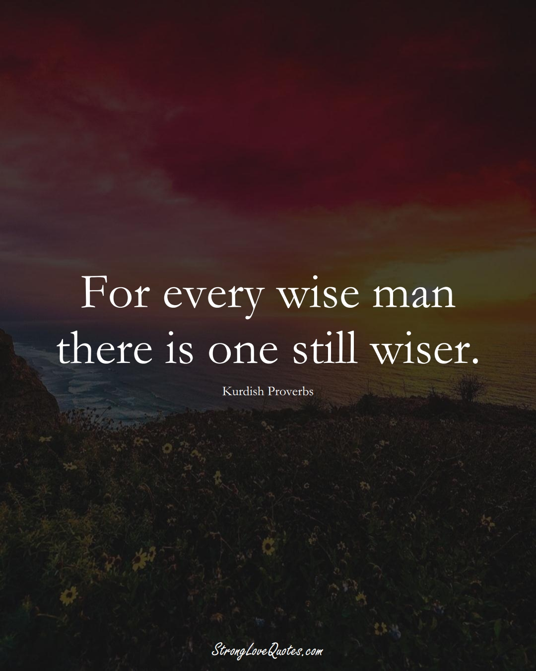 For every wise man there is one still wiser. (Kurdish Sayings);  #aVarietyofCulturesSayings