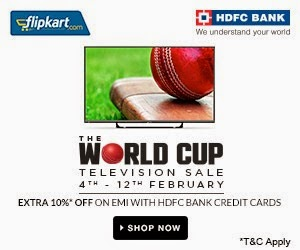 World Cup TV Sale @ Flipkart: Upto 48% Off+ Extra 10% Off on EMI Purchase using HDFC Credit Card