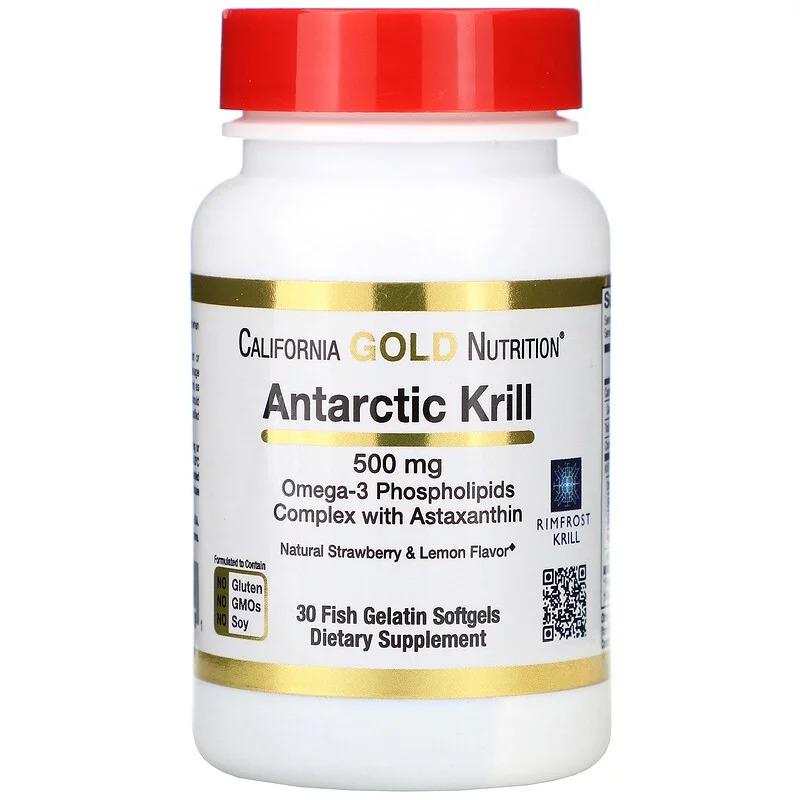 California Gold Nutrition, Масло антарктического криля, с астаксантином, RIMFROST, с натуральным вкусом клубники и лимона, 500 мг, 30 мягких желатиновых капсул