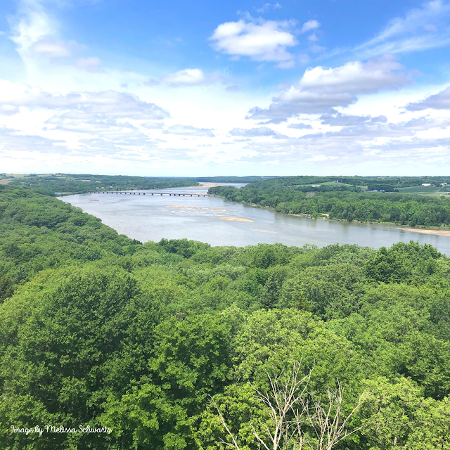 Breathtaking view of the Platte River from a top the tower at Platte River State Park in Louisville, Nebraska.