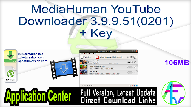MediaHuman YouTube Downloader 3.9.9.51 (0201) + Key