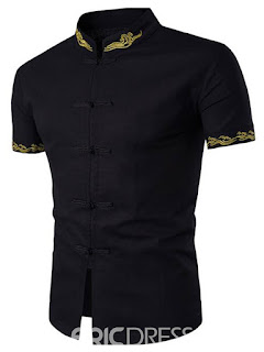 Ericdress Plain Stand Collar Short Sleeve Vogue Embroidery Men's Shirt