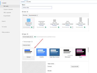 tampilan iklan yang direkomendasikan oleh Google Adsense
