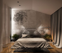Amazing bedroom accent wall idea with concrete sketch art wall paint