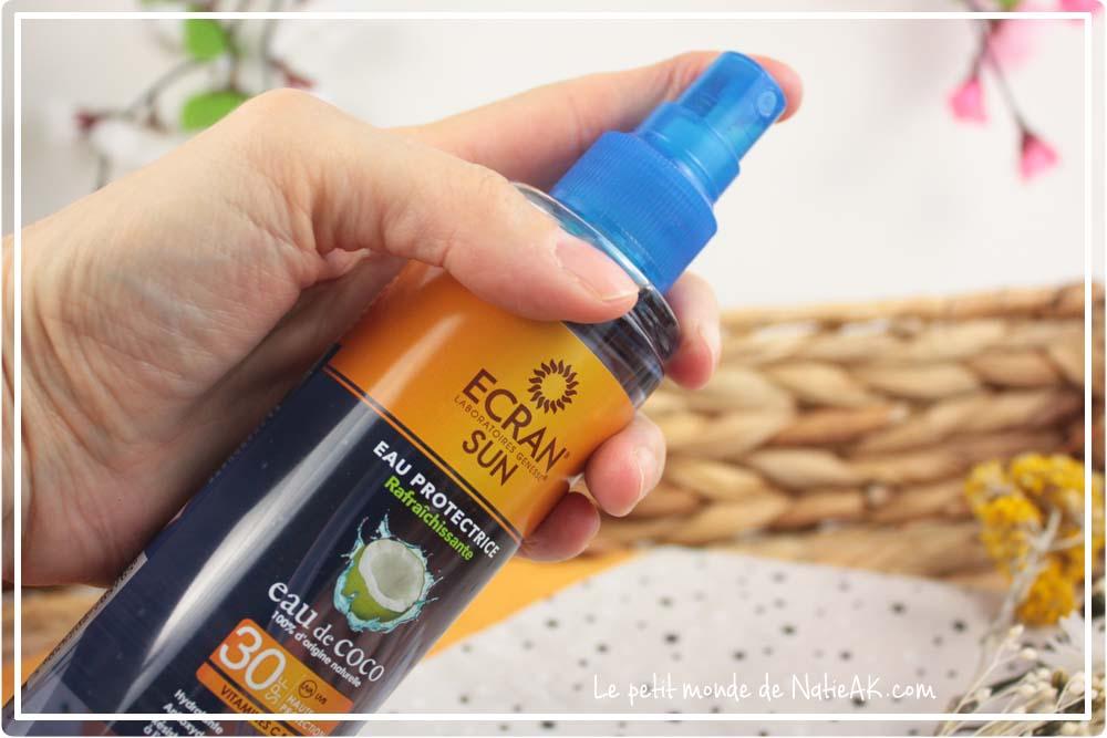 eau de coco  protectrice solaire