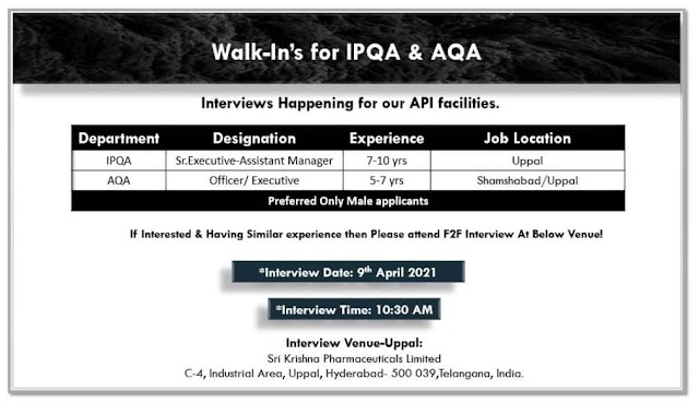 Sri Krishna Pharma | Walk-in interview for IPQA/AQA on 9th-Apr-2021