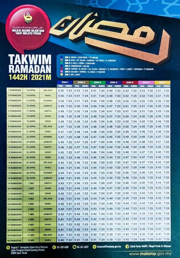 Waktu Imsak dan Berbuka Puasa 1442H 2021M Negeri Perak
