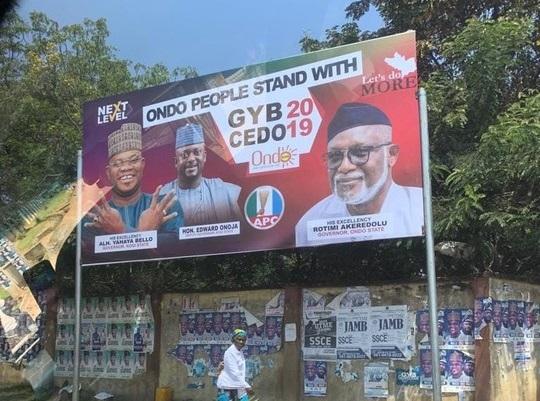 Governor Akeredolu Mounted A Big Billboard For Yahaya Bello In Kogi (Photo)
