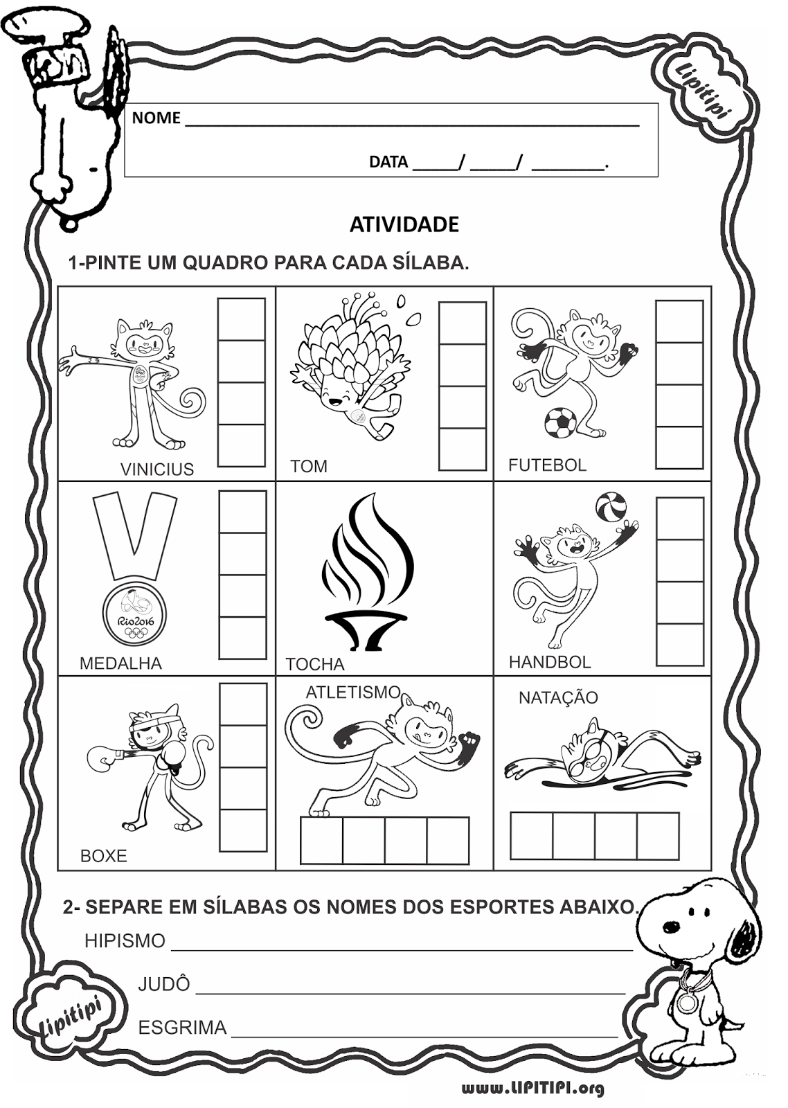30 atividades olimpÍadas rio 2016 exercÍcios colorir pintar imprimir