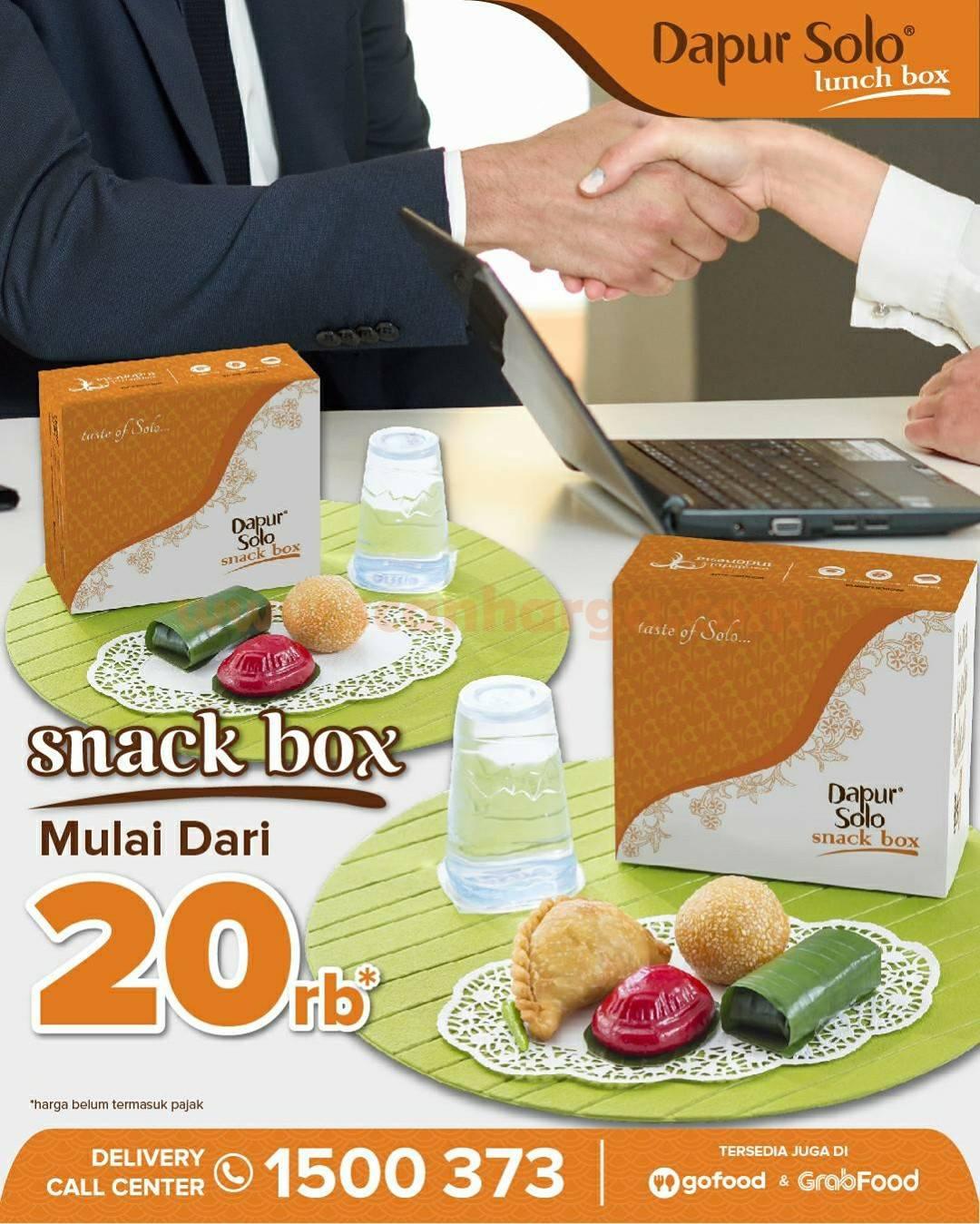 Promo DAPUR SOLO Paket SNACK BOX – Harga mulai dari Rp. 20 Ribu