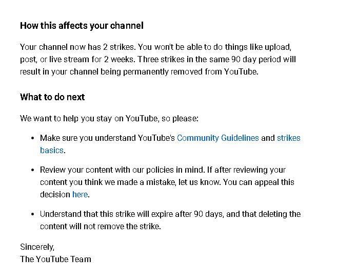 Youtube Strikes untuk kedua kali dalam 90 hari terakhir