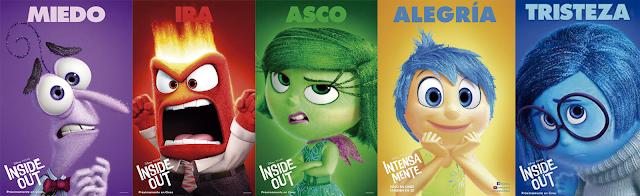 De izquierda a derecha, las emociones de la película de Pixar, Del Revés (2015)