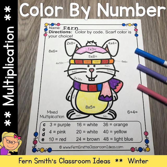 """Are You Ready for Some New Winter Multiplication Color By Numbers for Your Class? Then You Will Love These Cute Animals """"Dressed For Winter"""" to Add Some Joy To Your Winter!"""