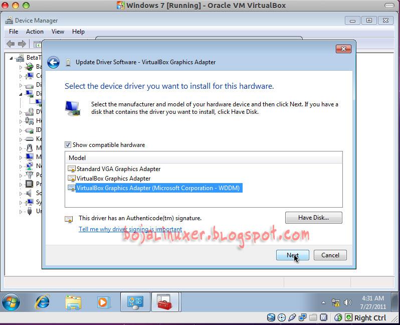 Virtualbox Graphics Adapter driver