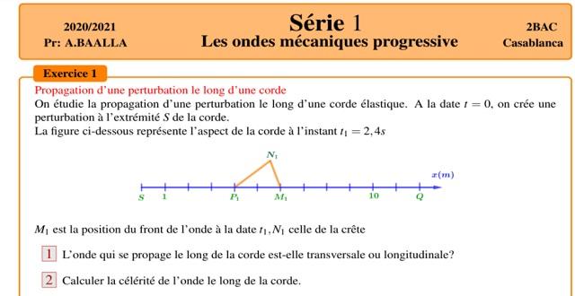 Exercices des ondes mécanique progressive 2 bac
