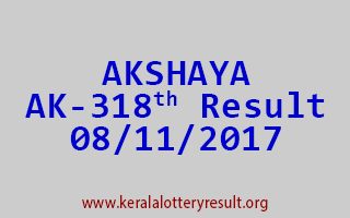 AKSHAYA Lottery AK 318 Results 8-11-2017