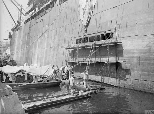 Damaged freighter Orari being patched at Malta, 3 June 1942 worldwartwo.filminspector.com