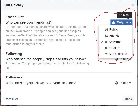 How to hide your facebook friend list from other people.
