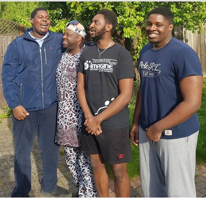 DELE MOMODU SHARED UP A PHOTO OF HIM WITH HIS SONS AS HE CELEBRATES HIS FIRST SON BIRTHDAY.