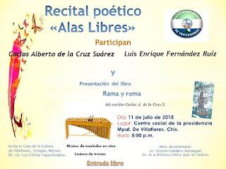 Presentación de libro del escritor chiapaneco Carlos de la Cruz