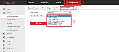 Cara setting resolusi output tampilan monitor DVR Hikvision