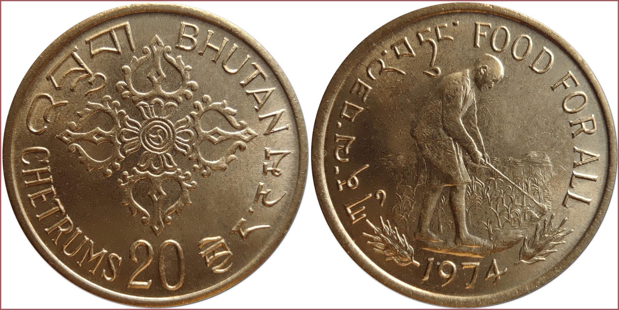 20 chetrum, 1974: Kingdom of Bhutan