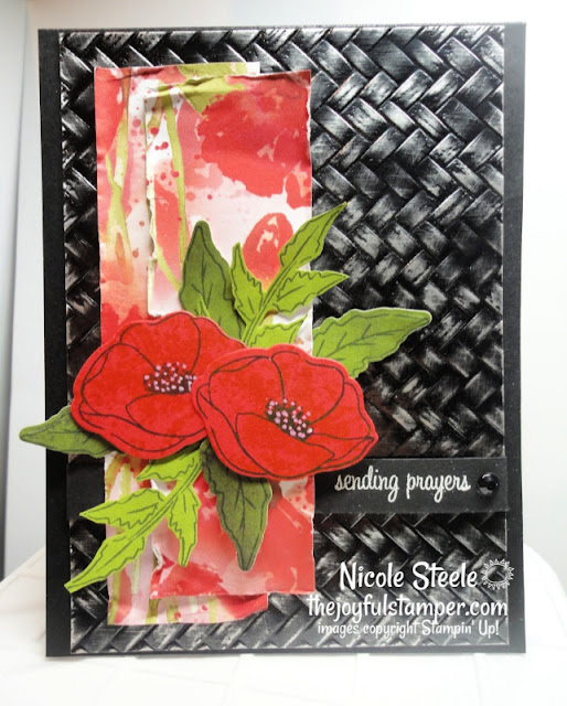 foil paper technique | painted poppies | coastal weave embossing folder | distressing | Nicole Steele The Joyful Stamper