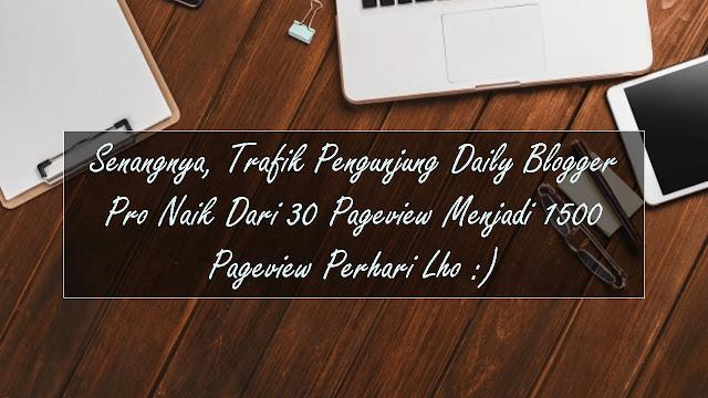 Senangnya, Trafik Pengunjung Daily Blogger Pro Naik Dari 30 Pageview Menjadi 1500 Pageview Perhari Lho :)