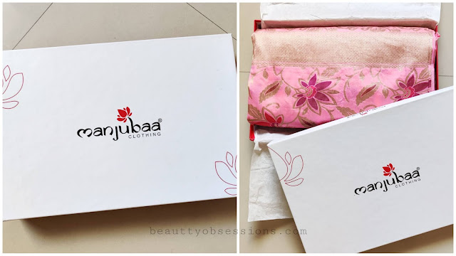 Manjubaa Banarasi Silk Saree packaging