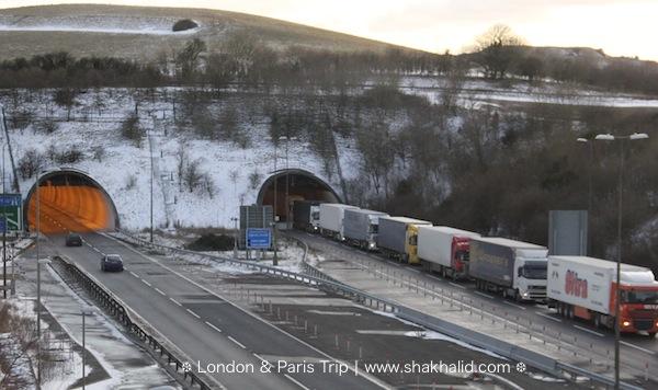 premium beautiful lorries queueing to enter France