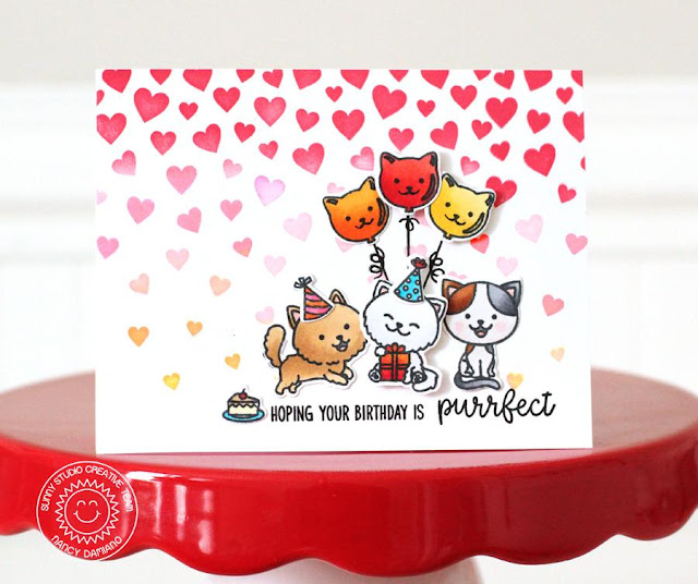 Sunny Studio Stamps: Cascading Hearts Purrfect Birthday Trio of Kitties Card by Nancy