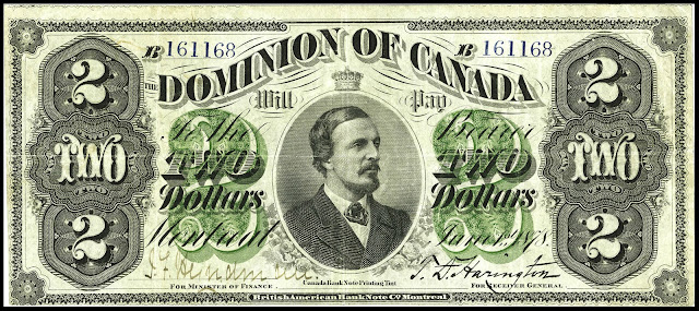 Dominion of Canada 2 Dollars Banknote 1878 Earl of Dufferin, Frederick Hamilton-Temple-Blackwood, 1st Marquess of Dufferin and Ava - 3rd Governor General of Canada