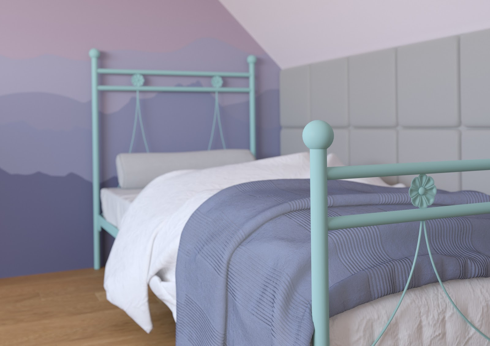 Łóżko metalowe wzór 37 (80-120 cm)
