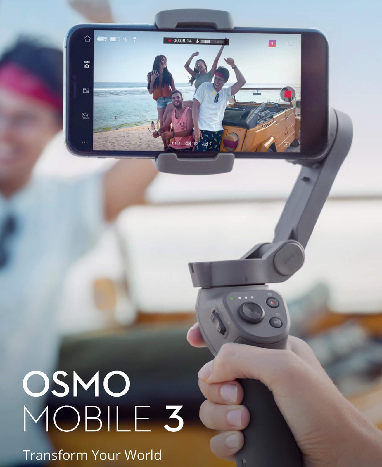 DJI تُطلق Osmo Mobile 3، وهو عبارة عن حامل ذكي وقابل للطي من أجل الهواتف الذكية