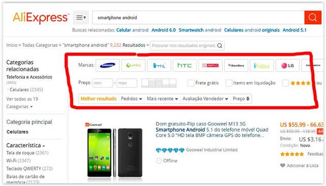 Usa los filtros de búsqueda