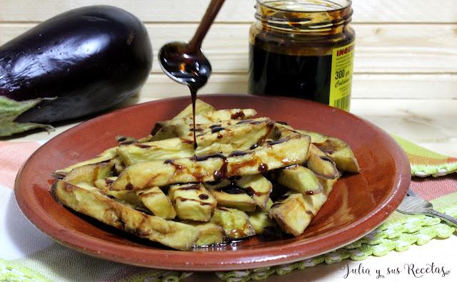 Berenjenas fritas con miel de caña. Julia y sus recetas
