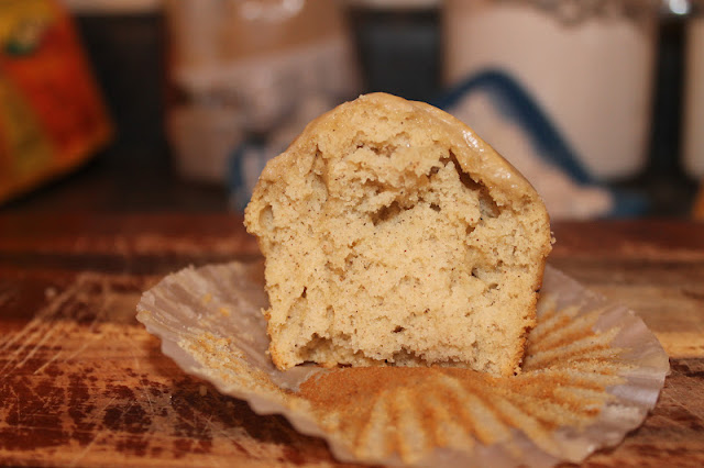 Glazed Doughnut Muffin Cut In Half With Nutmeg Showing