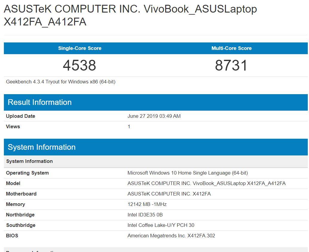 Benchmark Geekbench 4 Asus Vivobook Ultra A412FA EK303T