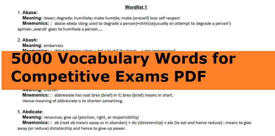 5000 Vocabulary Words for Competitive Exams PDF Download || Spoken