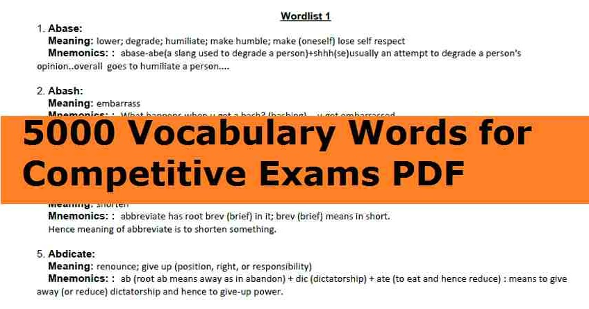 5000 Vocabulary Words for Competitive Exams PDF Download
