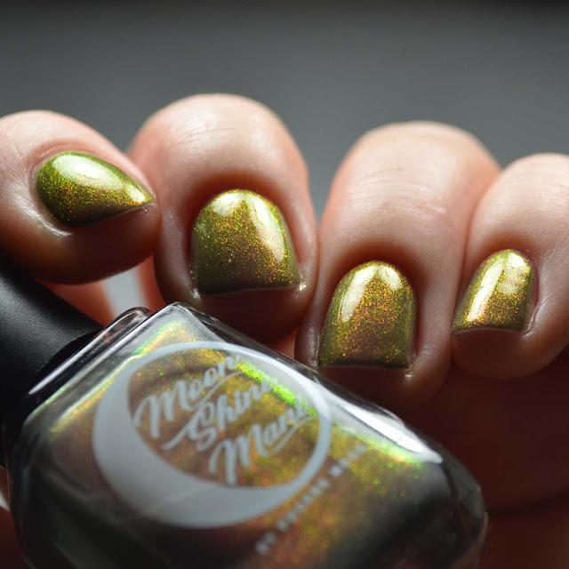 grey nail polish with color shifting shimmer swatch
