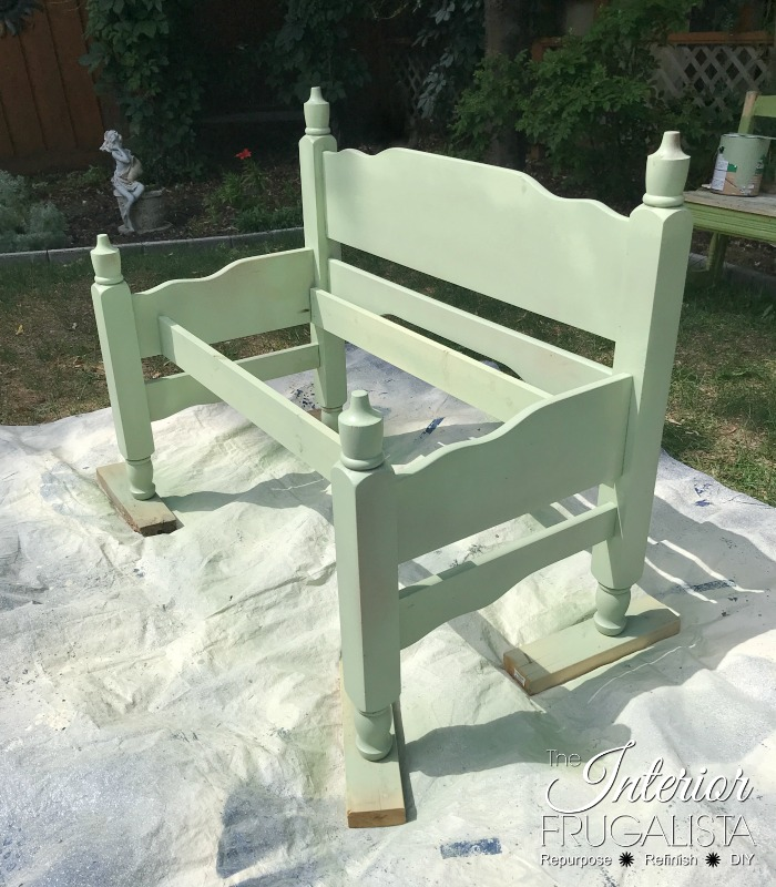 Headboard Garden Bench First Coat Stain
