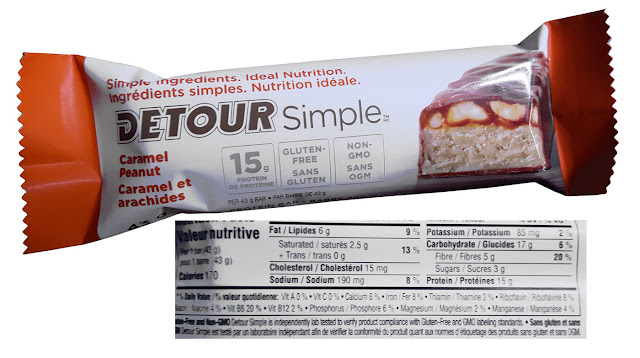 Detour Protein bar showing the nutritional ingredients.