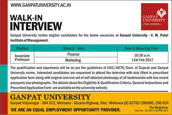 Ganpat University Recruitment 2017 for Associate Professor