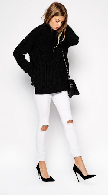 white jeans outfit ideas black sweater