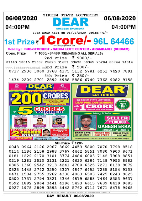 Lottery Sambad Result 06.08.2020 Dear Success Thursday 4:00 pm