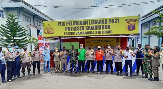 Kasat Pol PP Kota Samarinda HM. Darham Lakukan Koordinasi Bersama Kapolsek dan Danramil Samarinda Seberang Terkait Pengamanan Lebaran